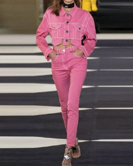 Fashion Short Slim Trench Long Sleeve Pockets Club Party Coats