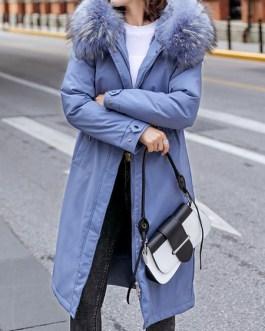 Parka Fur Hooded Long Sleeve Drawstring Maxi Coat