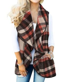 Plaid Designed Neckline Casual Block Piping Coat