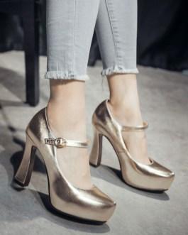 Platform Pumps Round Toe Chunky Heel PU Leather Shoes