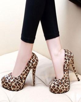 Platform Round Toe Leopard Print Stiletto Heels Rave Club High Heel Shoes