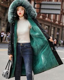 Puffer Fur Hooded Long Sleeves Drawstring Coats