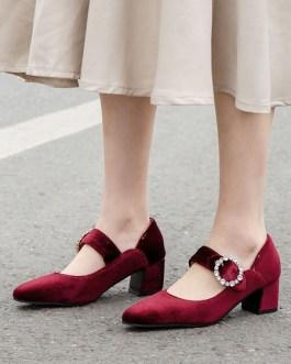 Pumps Round Toe Chunky Heel Strap Adjustable Rhinestones Mid-low Heel Shoes