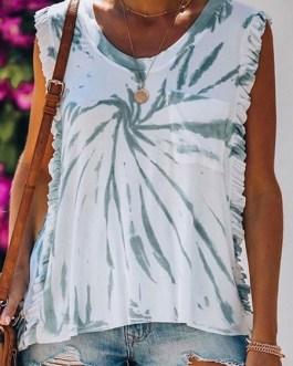 Sleeveless Cotton Printed Neck T Shirt