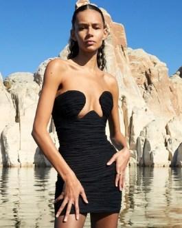 Sleeveless Sexy Strapless Draped Vestidos Mini Club Dres