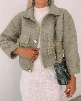 Splicing pocket long sleeve fluffy coats