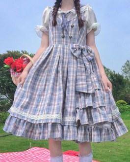 Sweet JSK Plaid Bows Lolita Jumper Skirts