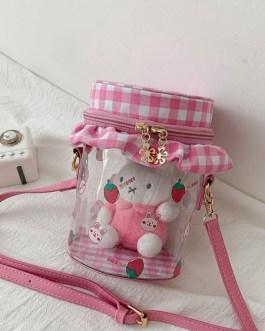 Sweet Lolita Bag Transparent Toy Plaid PU Leather Cross Body Bag