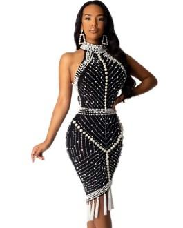 Tassel Sexy Halter Luxury Beading Celebrity Party Bodycon Dress