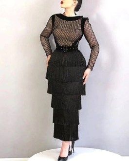 Tassel Sexy Hollow Out Long Sleeve Celebrity Party Bandage Dress