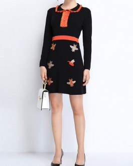 Turndown Collar Long Sleeve Buttons Printed Casual Sweater Dress