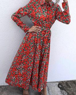 Turndown Collar Long Sleeve Printed Split Shirt Maxi Dress