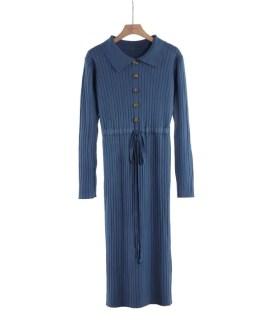 Casual Turn Down Collar Drawstring Waist Jumper Sweater Dress