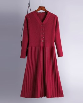 Casual V Neck Long Sleeve A-line Jumper Sweater Dresses