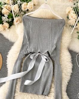 Elegant Off Shoulder Slash Neck Short Sweater Dress
