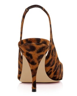 High Heels Leopard Pointed Toe Stiletto Heel Slingbacks Slip On Pumps