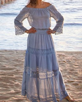 Lace Off-The-Shoulder Long Sleeves Oversized Long Dress