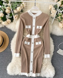 Long Sleeve O Neck Slim Pencil Chic Bodycon Sweater Dress