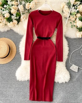 O Neck Long Sleeve Slim Elastic A-line Bodycon Dresses