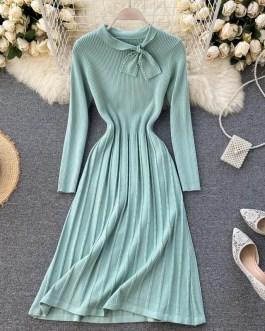O Neck Long Sleeve Striped A-line Elastic Loose Sweater Dress
