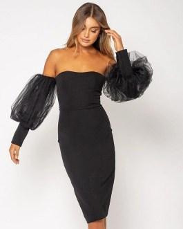 Sexy Off Shoulder Lace Long Lantern Sleeve Club Dress
