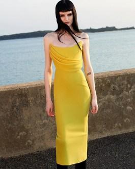 Sexy Strapless Draped Sleeveless Runway Party Dress