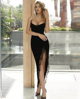 Sexy Strapless Lace Bodycon Runway Party Dresses