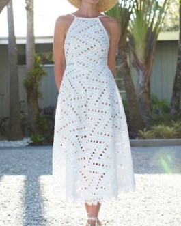 Straps Neck Sleeveless Backless Long Dress
