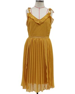 Straps Neck Sleeveless Pleated Fit And Flare Dress
