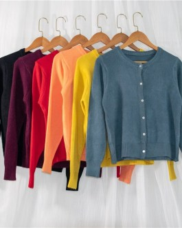 Sweaters Korean Style Wild Knitted Buttons Cardigans