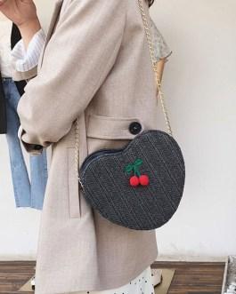 Sweet Lolita Hearts Shaped Cherry Decor Cross Body Bag