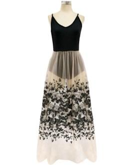 U Neck Sleeveless Backless Long Dress