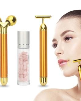 3 in 1 24k Energy Beauty Bar Golden Pulse Vibrating Facial Roller