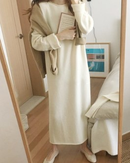 Batwing Long Sleeve Basic Casual Straight Dress