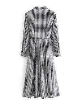 Bow Tie Long Sleeve Casual Dress