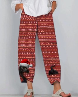 Christmas Cat Print Elastic Waist Vintage Pants