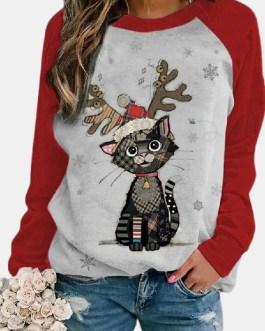 Cute Christmas Cartoon Print Raglan Sleeves O-neck T-shirt