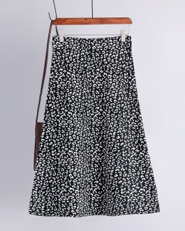 Fashion Vintage Elastic High Waist Leopard Knitted Street Wear Skirt