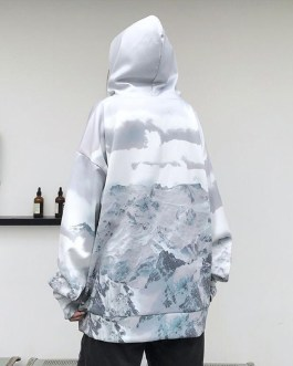 Gradient snow mountain hooded loose sweatshirt