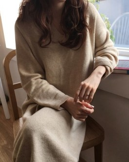 Loose Casual Knitted Sweater Dress