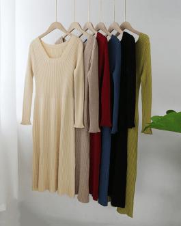 Square Collar Elegant Patchwork Dress