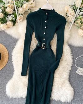 Stand Collar Long Sleeve Street Wear Bodycon Sweater Dresses