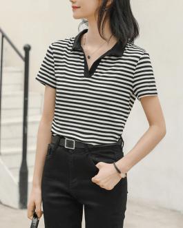 Turn-down Collar Casual Cotton Shirts Tops
