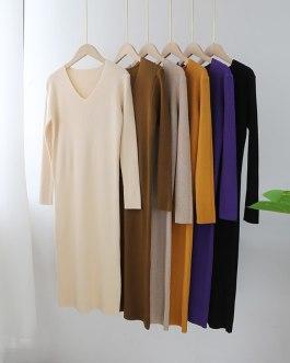 V Neck Solid Basic Bodycon Dresses