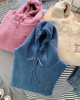 Warm hooded plus velvet sweatshirt