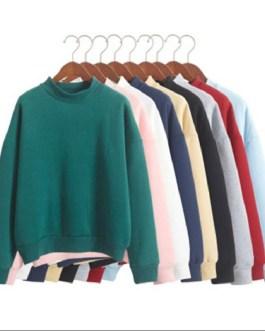 velvet o-neck solid color loose sweatshirt