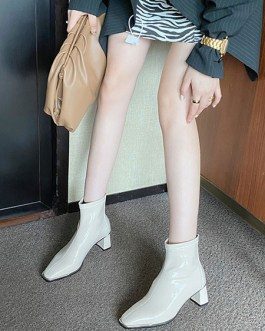 Ankle Round Toe Patent Leather Upper Boots
