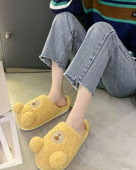 Artificial Short Plush Knitting Wool Upper Closed Toe Indoor Slippers