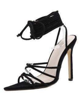 Bandage Stiletto Heel Peep Toe Micro Suede Upper Sandals