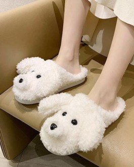 Boa Knitting Wool Upper Closed Toe Indoor Dog Ornament Home Slippers Shoes